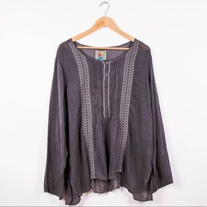 Johnny Was gray embroidered boho tunic blouse top